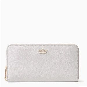 NWT Kate Spade Silver Glitter Large Wallet